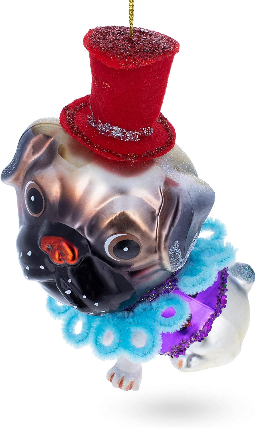 BestPysanky Pug in The Red Hat Glass Christmas Ornament