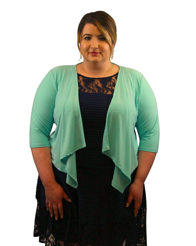 SleekTrends Womens Elbow Sleeve Plus Size Open Draped Front Bolero Jacket - Shrugs ST21702W