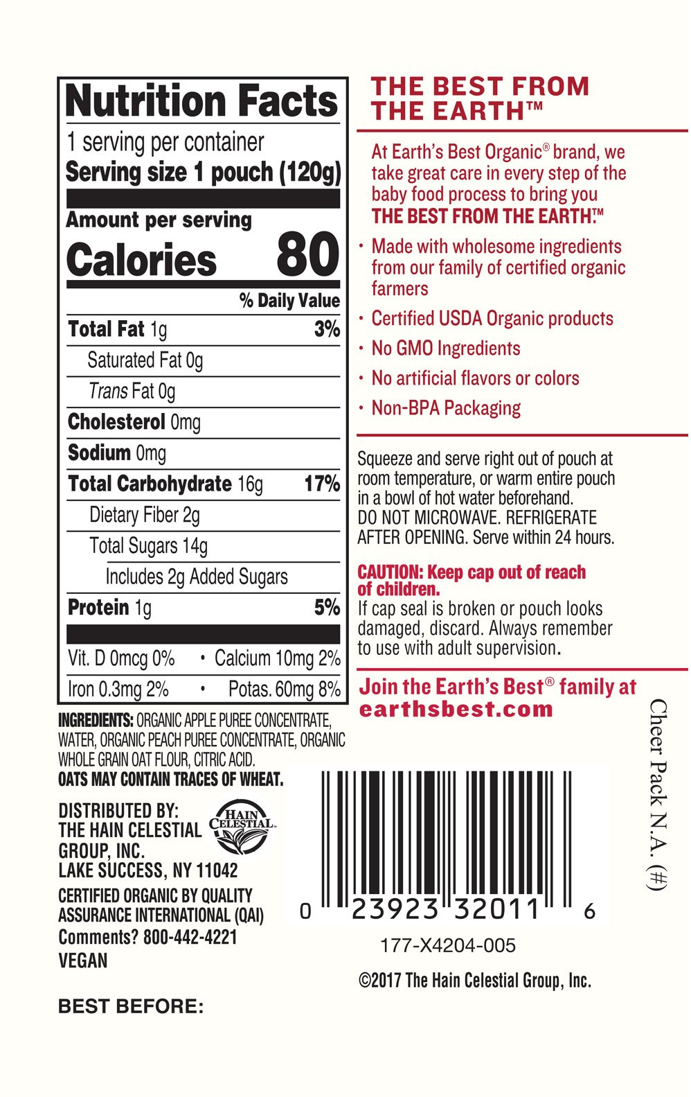 Earth's Best Organic Stage 2 Baby Food, Apple Peach and Oatmeal, 4.2 oz. Pouch (Pack of 12) by Earth's Best (Image #5)