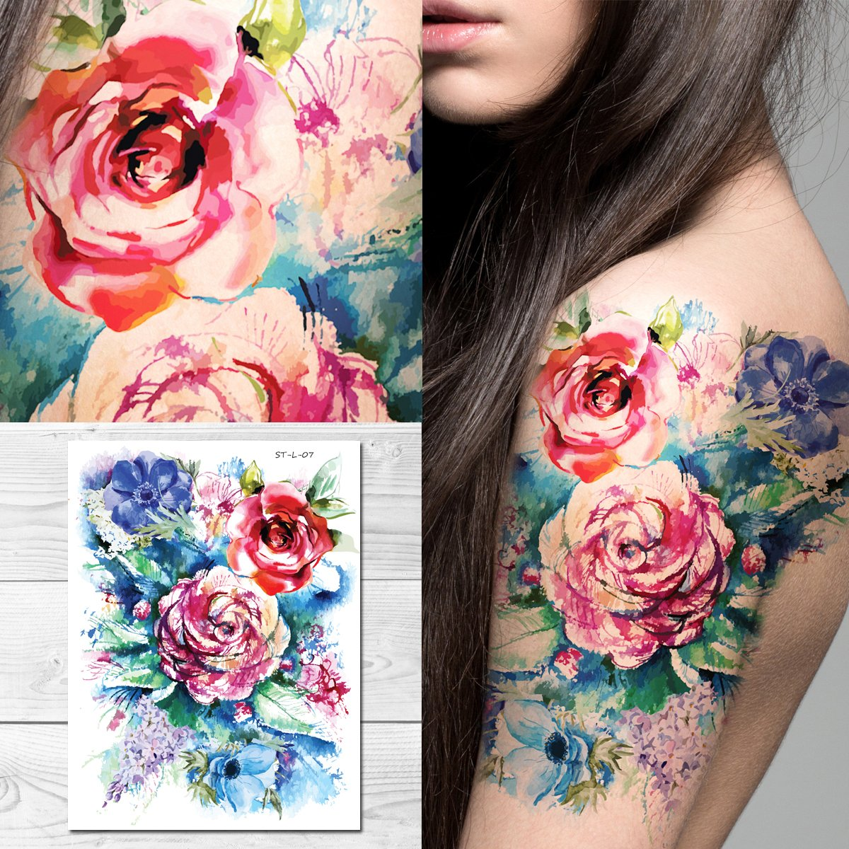 Amazon Supperb Temporary Tattoos Watercolor Blue Flowers