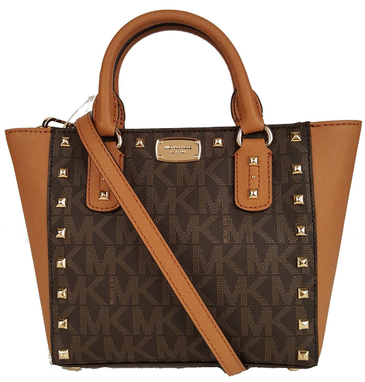 Michael Kors Sandrine Stud Acorn Small Crossbody Leather Handbag Brown by Michael Kors