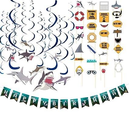 2fae953ec018 Amazon.com  Blue Panda Happy Birthday Decorations – Shark Party ...