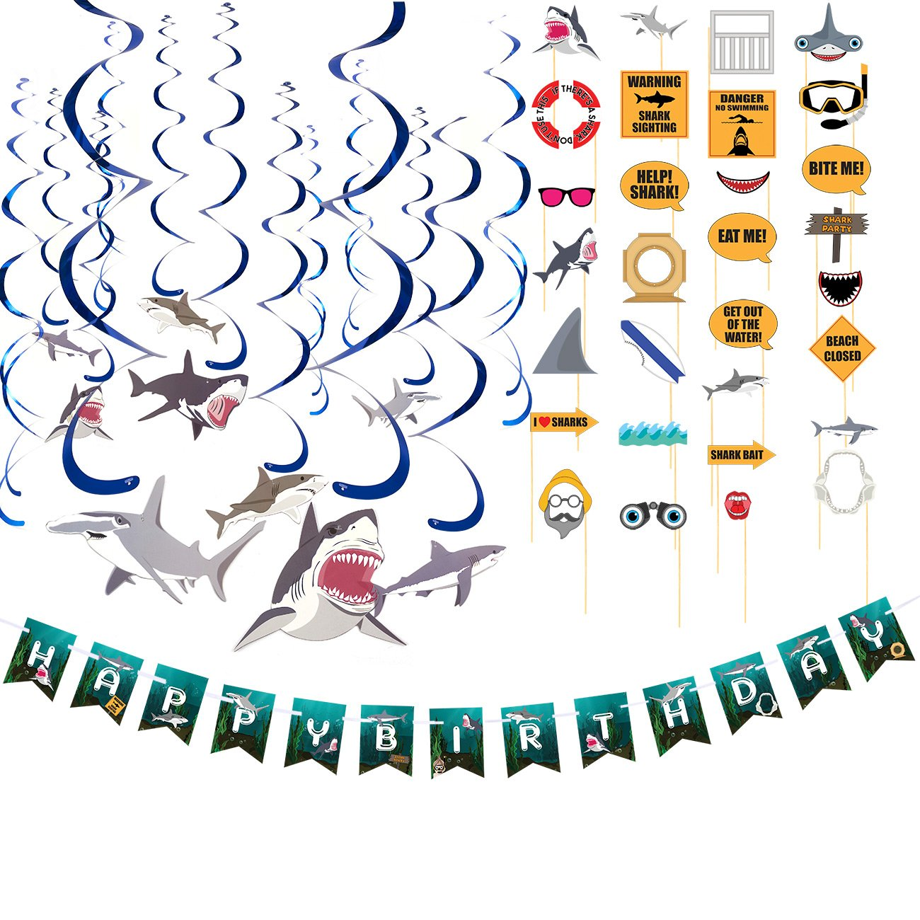 Blue Panda Happy Birthday Decorations – Shark Party Decorations, Includes 1 Birthday Banner, 15-Count Swirl Decorations, 21-Count Photo Booth Props, 3-in-1 Pack Happy Birthday Party Supplies by Blue Panda