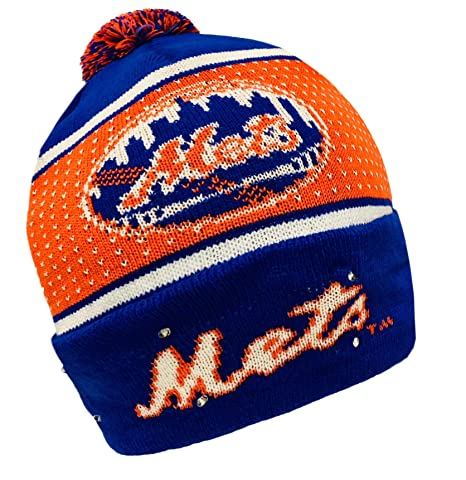 cheap for discount 746ca b85eb Image Unavailable. Image not available for. Color  Forever Collectibles MLB New  York Mets Big Logo Knit Light Up Beanie Hat
