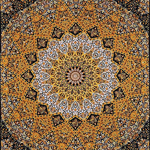 Stylo Culture Elefante Mandala Tapiz de algodón Amarillo Reina ...