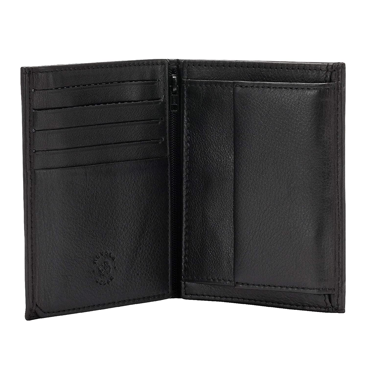 Nuvola Pelle Large Mens Wallet in Real Leather Vertical Bifold Wallet with Coin Pocket and Inner Zip Black