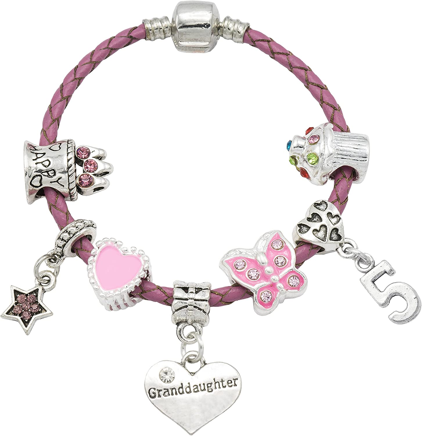 Girls Jewellery Granddaughter Happy 5th Birthday Bracelet for Girls with Gift Box