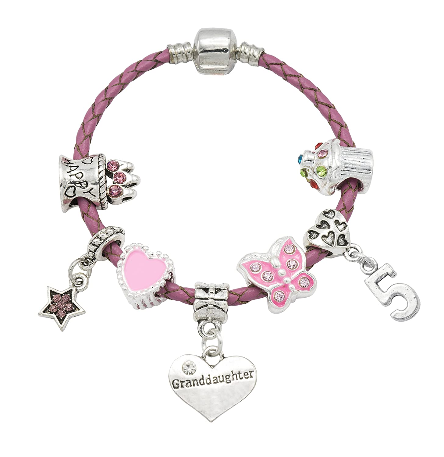 'Granddaughter' - Happy 5th Birthday Bracelet For Girls with Gift Box - Girls Jewellery Jewellery Hut BRGRANDDAUGHT5-16