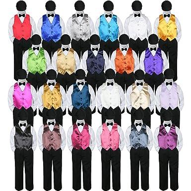 148a1f7b5ab2 Amazon.com: Leadertux 5pc Baby Toddler Boy Formal Tuxedo Suit Black Pants  Shirt Vest Bow tie Hat SM-4T: Clothing