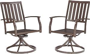 Better Homes & Gardens Camrose Farmhouse Mix and Match Slat-Back Swivel Chair, Set of 2