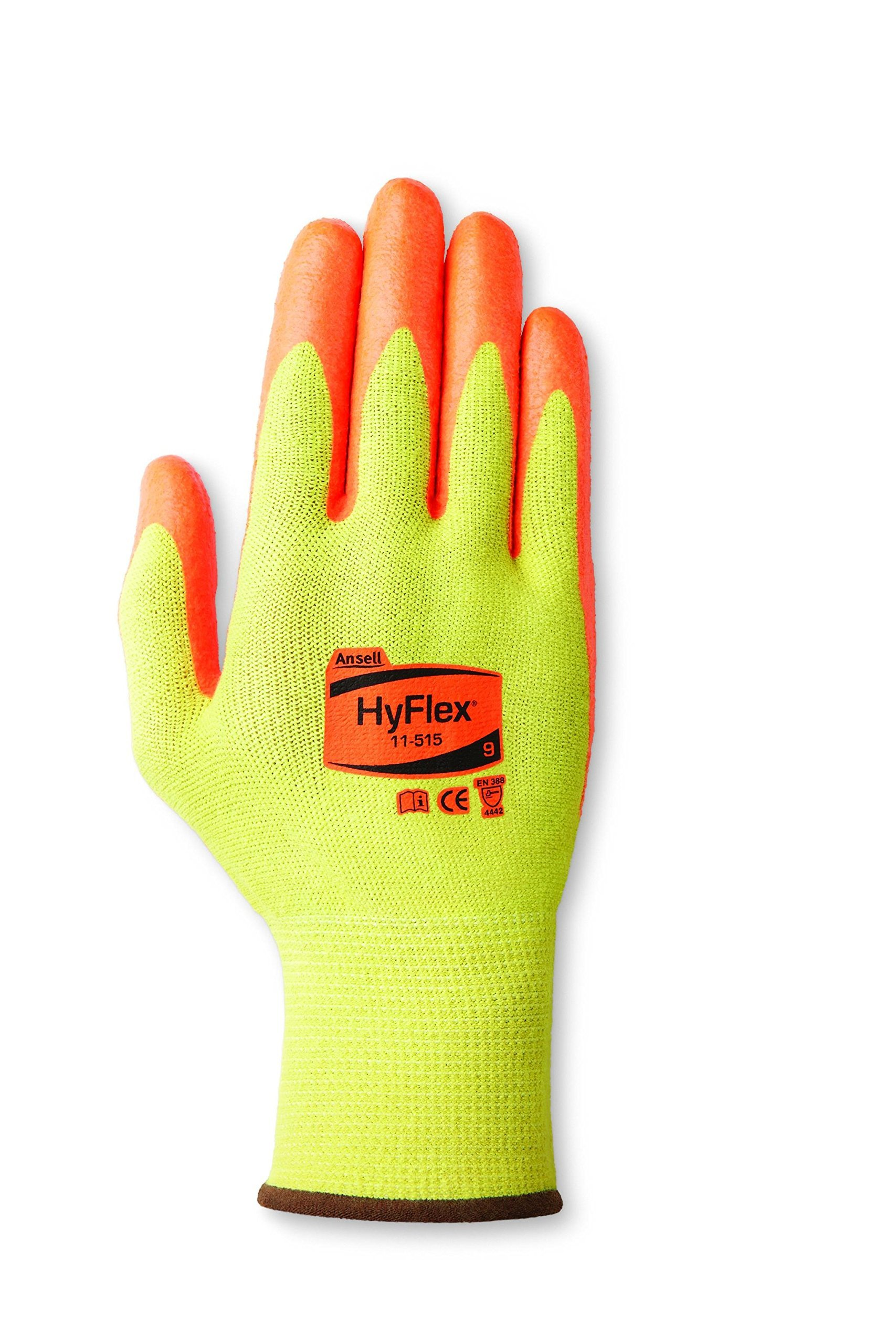 Ansell HyFlex 11-515 DuPont Kevlar Medium-Duty Cut Protection Glove with High Visibility, Abrasion/Cut Resistant, Size 9, Yellow (Pack of 12 Pair)