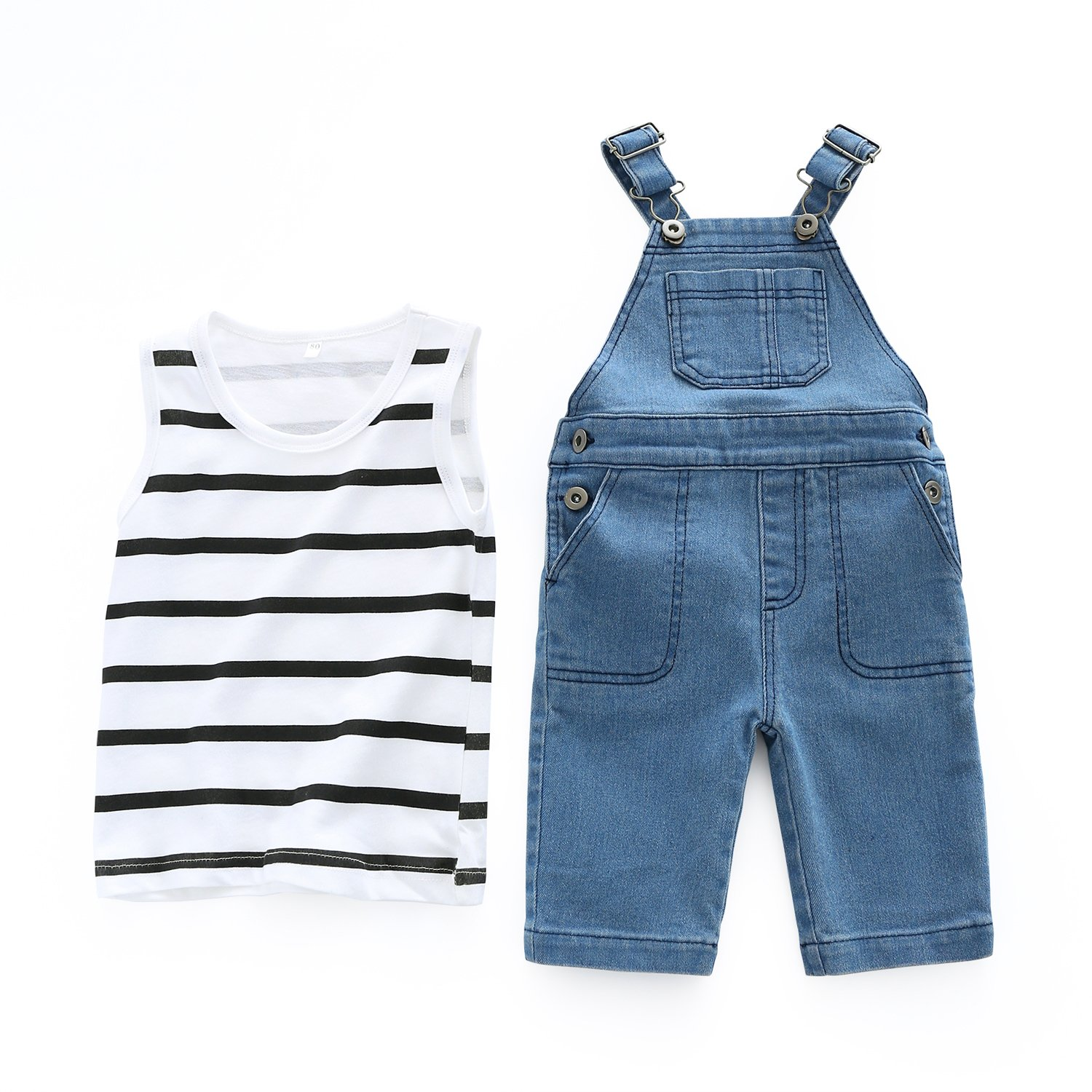 Baby Overalls Set Stripped Sleeveless Shirt Top+ Denim Suspender Pants Outfits