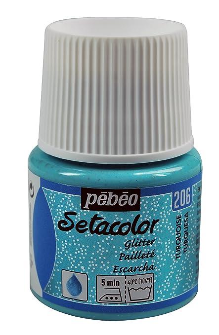 Pébéo Setacolor Peinture tissus clairs Pailleté Bleu turquoise 45 ml ...