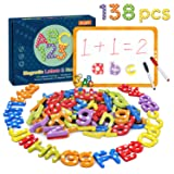 Magnetic Letters and Numbers-138Pcs Kids Educational Alphabet Refrigerator Magnets-Gift Set with Dry Erase Magnetic Board,Best Preschool Learning Toys for Kids Spelling, Counting, Color Recognition