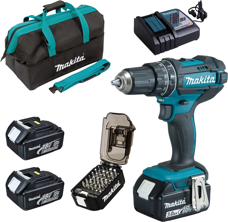 Makita DHP482RFX3 Taladro atornillador de percusi/ón incluye 3 bater/ías de 18 V, 3 Ah, iones de litio, incluye estuche accesorios y bolsa de transporte