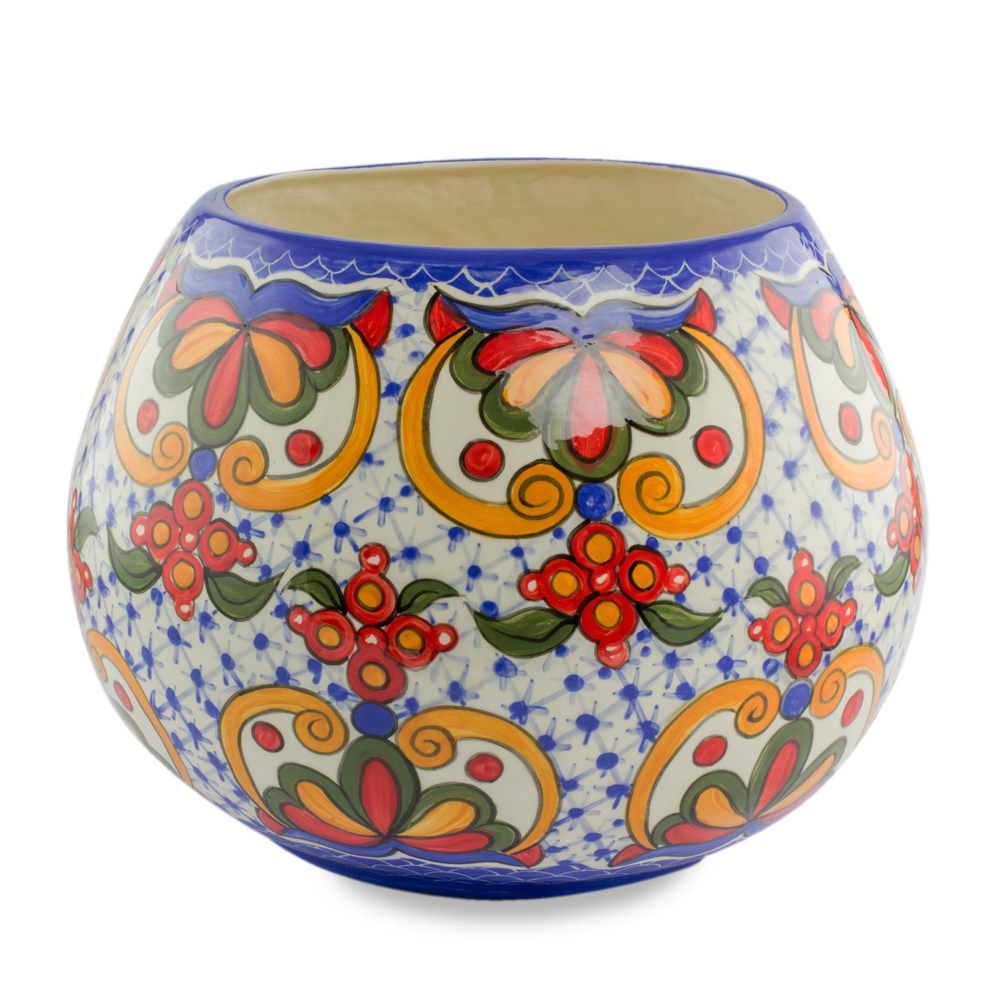 NOVICA Floral Ceramic Vase, Multicolor 'Florid Sheen' by NOVICA