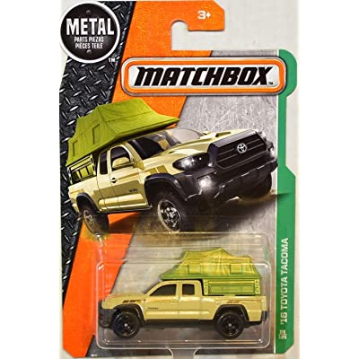 Matchbox 2020 '16 Toyota Tacoma 86/125 Scale MBX Explorers Die-cast Vehicle, Tan with Green Tent Camper: Toys & Games