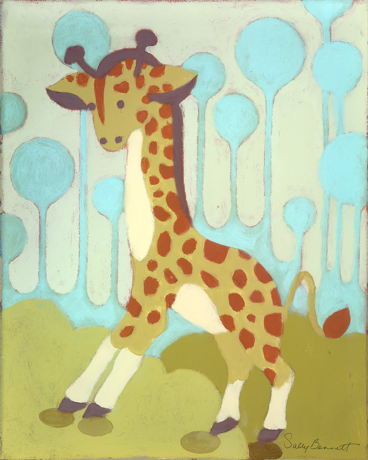 Amazon.com: Oopsy Daisy Gigi Giraffe Stretched Canvas Wall Art by ...