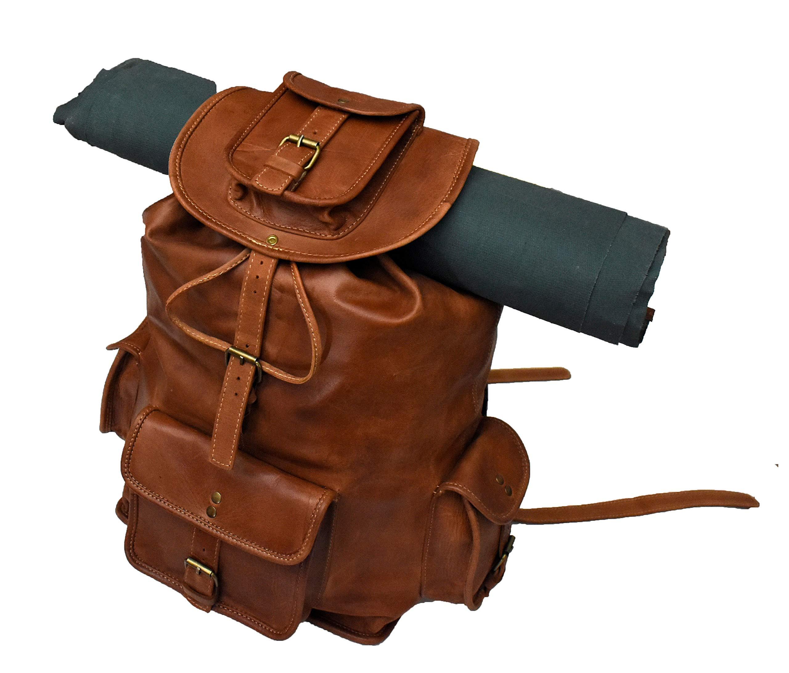 20'' Genuine Leather Retro Backpack Bag, Picnic Bag Travel Rucksack by handolederco.