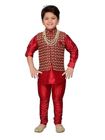 1a73ed917f AJ Dezines Kids Indian Wear Bollywood Style Kurta Pyjama Waistcoat with  Necklace for Baby Boys (