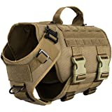 ICEFANG Tactical Dog Operation Harness with 6X Buckle,Dog Molle Vest with Handle,3/4 Body, Hook and Loop Panel for ID Patch,N