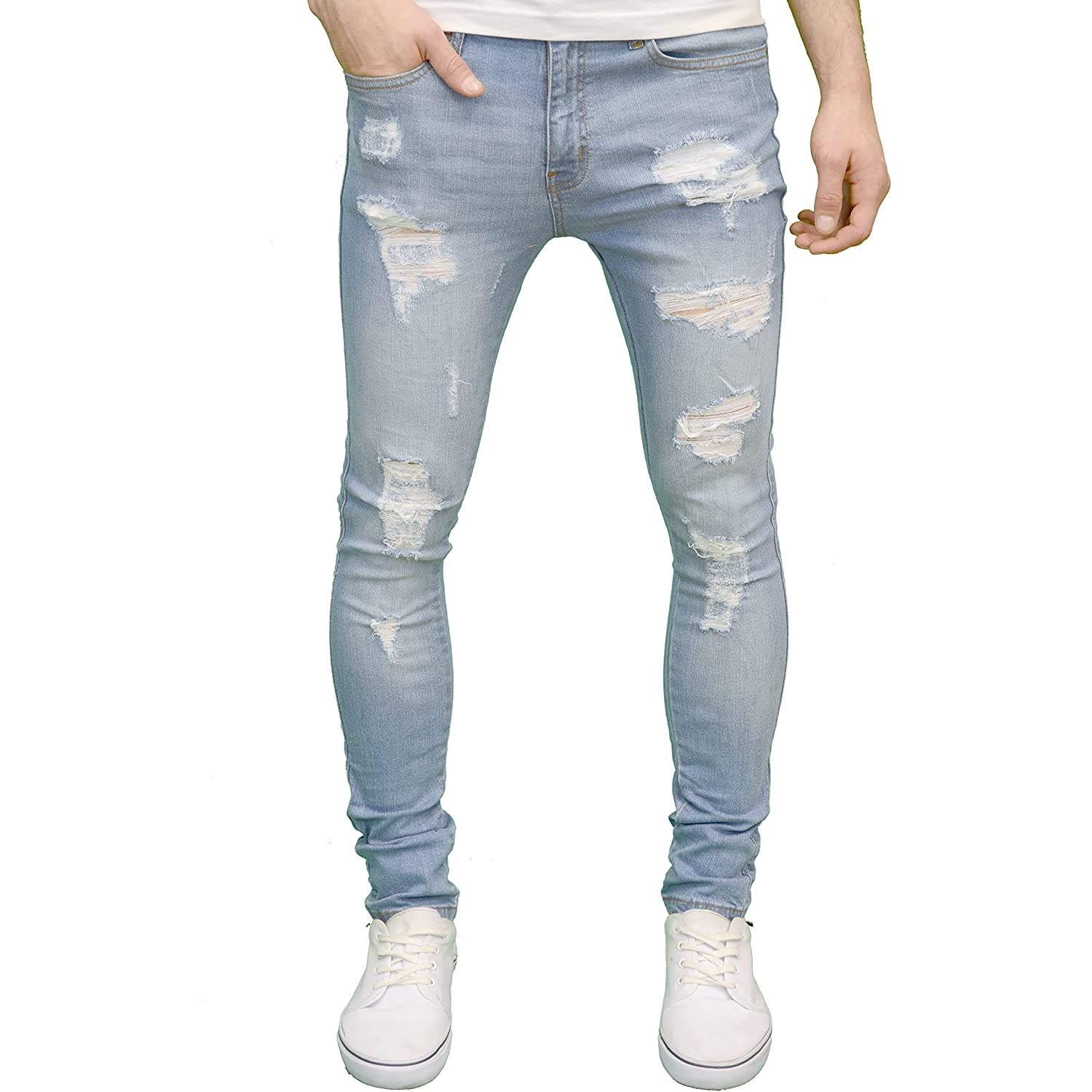 526Jeanswear 526 Mens Designer Stretch Super Skinny Ripped Abraised Distressed Jeans