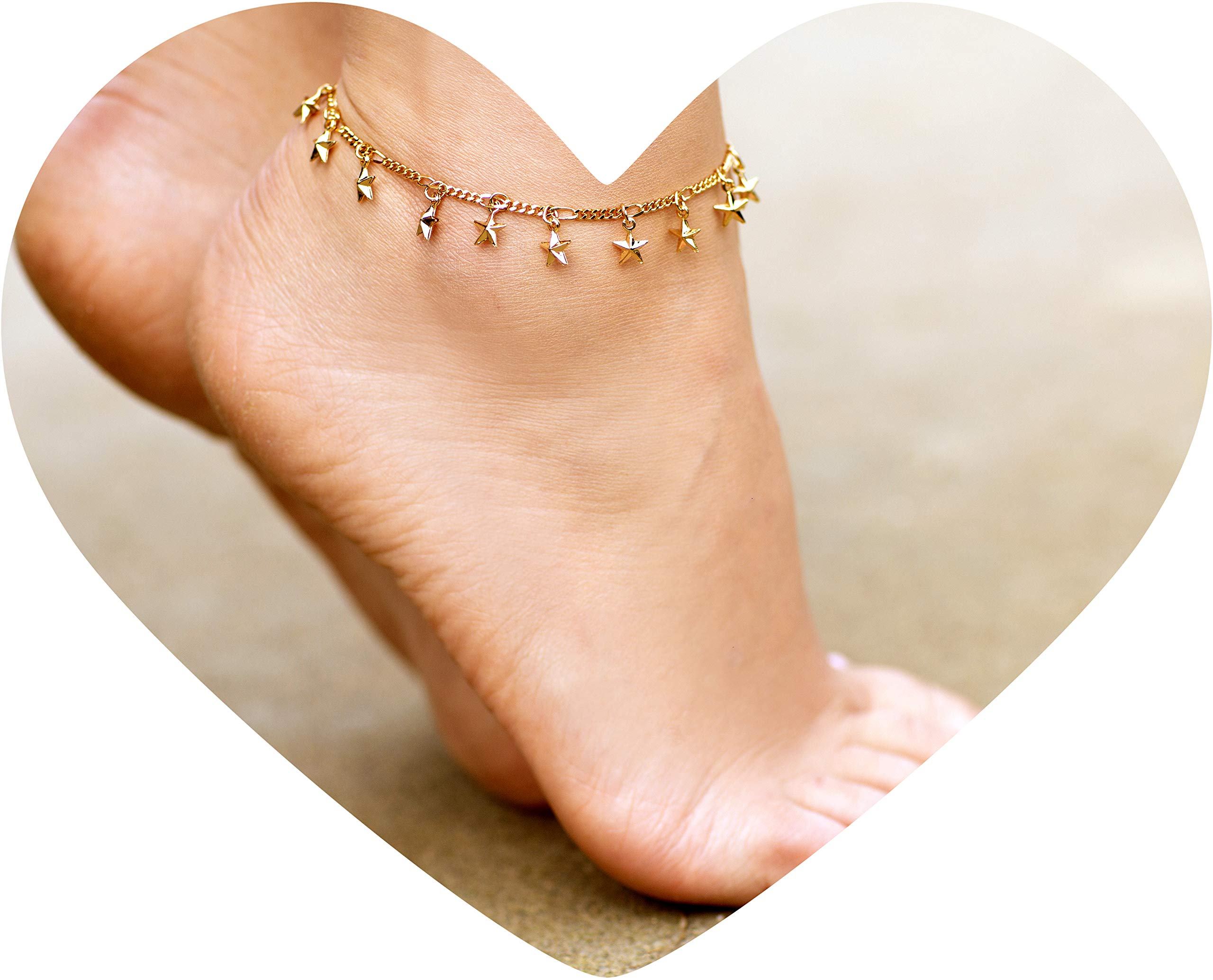 Lifetime Jewelry Anklets for Women Men and Teen Girls - 24K Gold Plated Chain with Dangling Stars - Ankle Bracelet to Wear at Beach or Party - Cute Surfer Anklet - 9 10 and 11 inches (10)