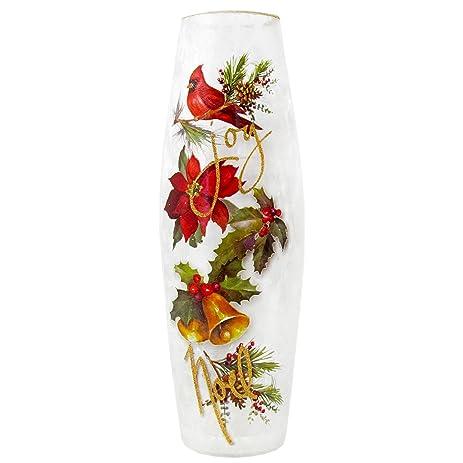 Amazon Stony Creek 12 Tall Lighted Oval Glass Vase Folk Art