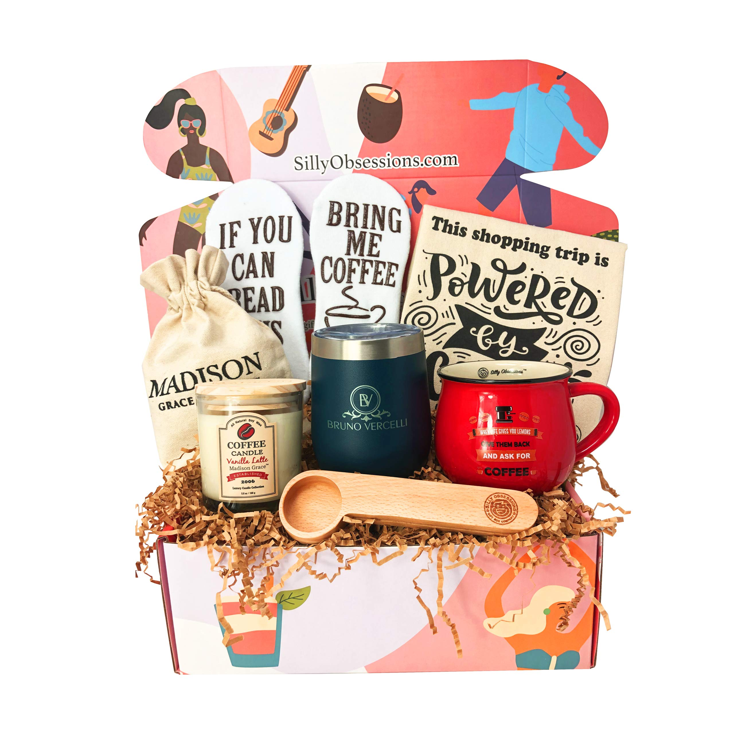 """The Java Joe Box"" – Coffee Accessory Gift Set for Women and Men- Packed with Fun and Unique Coffee Themed Items for Coffee Lovers by Silly Obsessions. Great Birthday Gift for Mom and Dad."