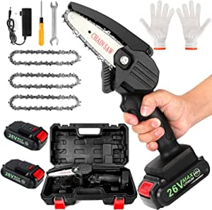 Mini Chainsaw Cordless 4'' Battery Powered Electric Chain Saws, Portable One-Hand Handheld Little Chainsaw, 26V Rechargeable Lightweight Cordless Saw for Tree Branches Trimming and Wood Cutting, Black