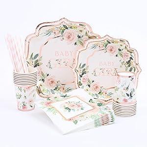 Floral Baby Girl Shower | Stunning Real Rose Gold Foil | Serves 16 | Rustic or Floral Baby Shower | Baby Shower Girl Decorations
