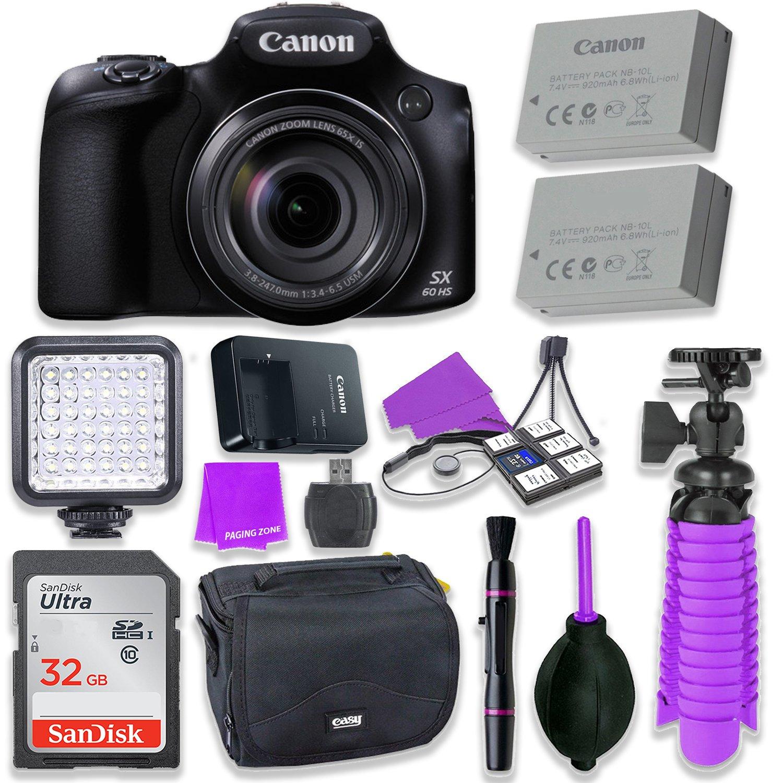 Canon Powershot SX60 16.1MP Digital Camera 65x Optical Zoom Lens 3-inch LCD Tilt Screen (Black) & LED Video Light, 32GB Sandisk Memory Card, Extra Battery + Accessory Bundle
