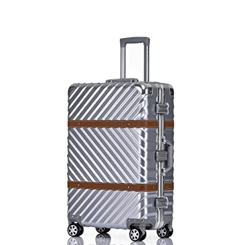 eb29616dc Amazon.com | Checked Luggage, Aluminum Frame Hardside Fashion Suitcase with  Detachable Spinner Wheels 28 Inch Silver | Suitcases