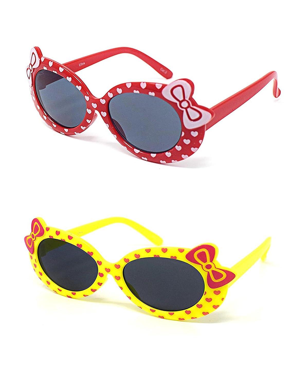 1 x rojo 1 amarillo color niños niños niñas elegante lindo diseñador estilo gafas de sol de alta calidad con un arco y un corazón estilo UV400 gafas de sol de tonos UVA UVB protección