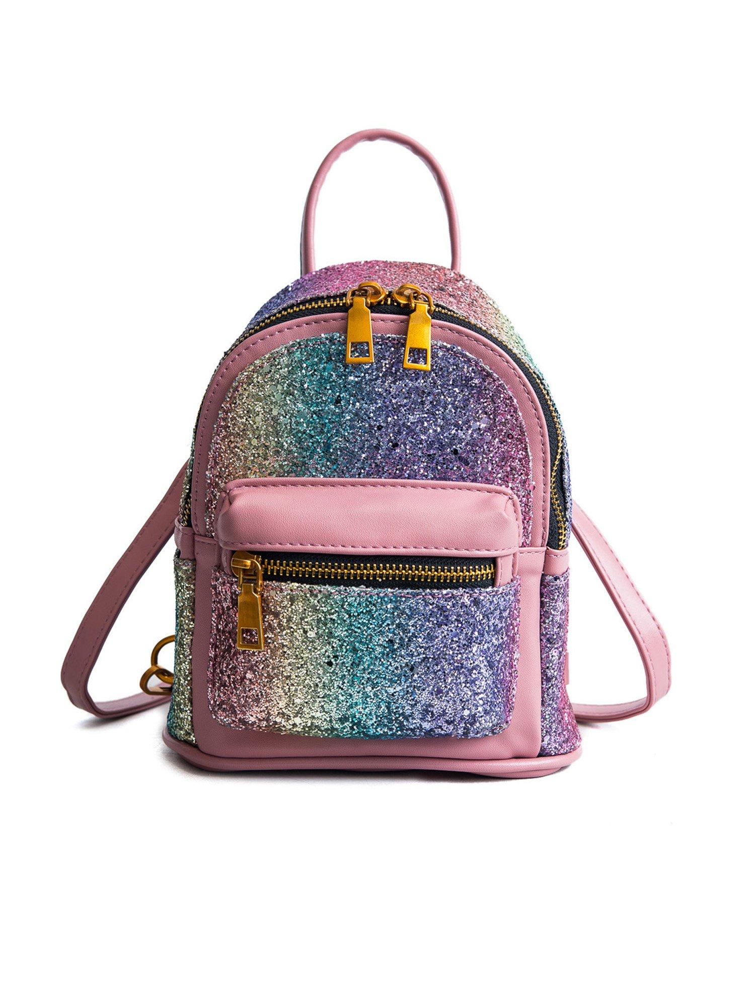 EPLAZA Women Girls Shining Backpack Convertible Shoulder Cross Purse Child Travel Bag Daypack (gradient pink)
