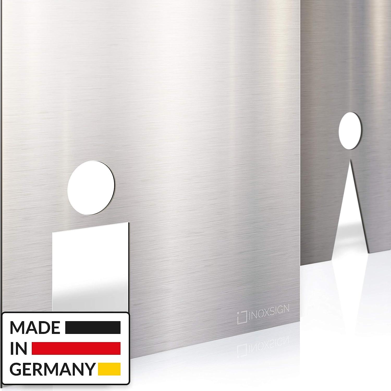 Edelstahl Toilettenschilder INOXSIGN WC-Schilder Set T.03.E Selbstklebend werkzeuglose Montage edel und elegant Made in Germany