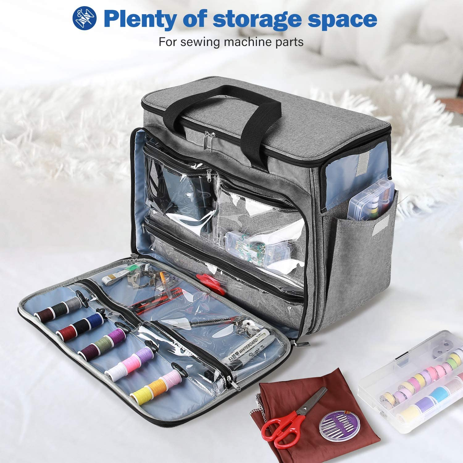 with Compartment Pockets and Shoulder Strap Portable Storage Tote Bag Carry Case for Brother ProCase Sewing Machine Bag Case Singer and Janome Grey