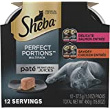 SHEBA PERFECT PORTIONS Multipack Chicken and Salmon Entrée Wet Cat Food Trays 2.6 Ounces (12 Twin Packs)