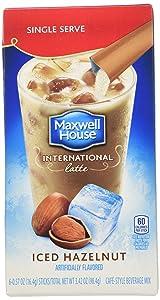 Maxwell House International Cafe Iced Latte Cafe-Style Beverage Mix, Single Serve Packets, Hazelnut, 6 e .57 oz