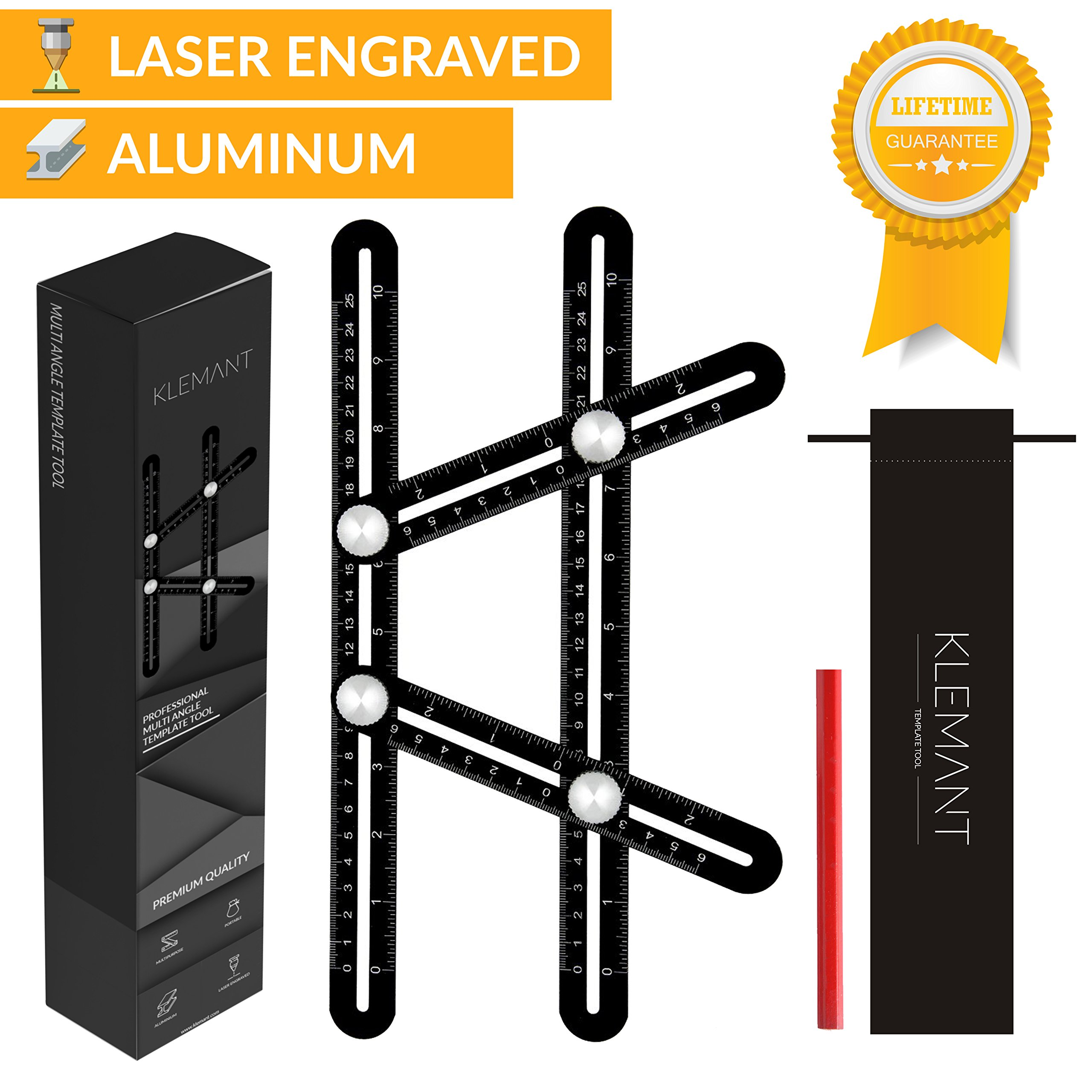 Universal Angularizer Ruler, Angleizer Template Tool - Measure Any Angle - Aluminum Multi Angle Ruler | Laser Engraved Markings | Metal Knobs for Builders, DIY, Carpenters, Roofers, Tilers, Craftsmen
