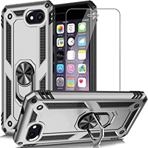 AUPAI iPhone SE 2020 Case,iPhone 7 Case,iPhone 8 Case with Screen Protector,Heavy Duty Rugged Cover with Magnetic Ring Kickstand,Protective Phone Case for iPhone 7/8/SE 2020 Silver