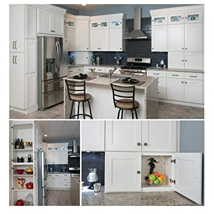 10x10 All Solid Wood Modern Kitchen Cabinets Set White Shaker Soft