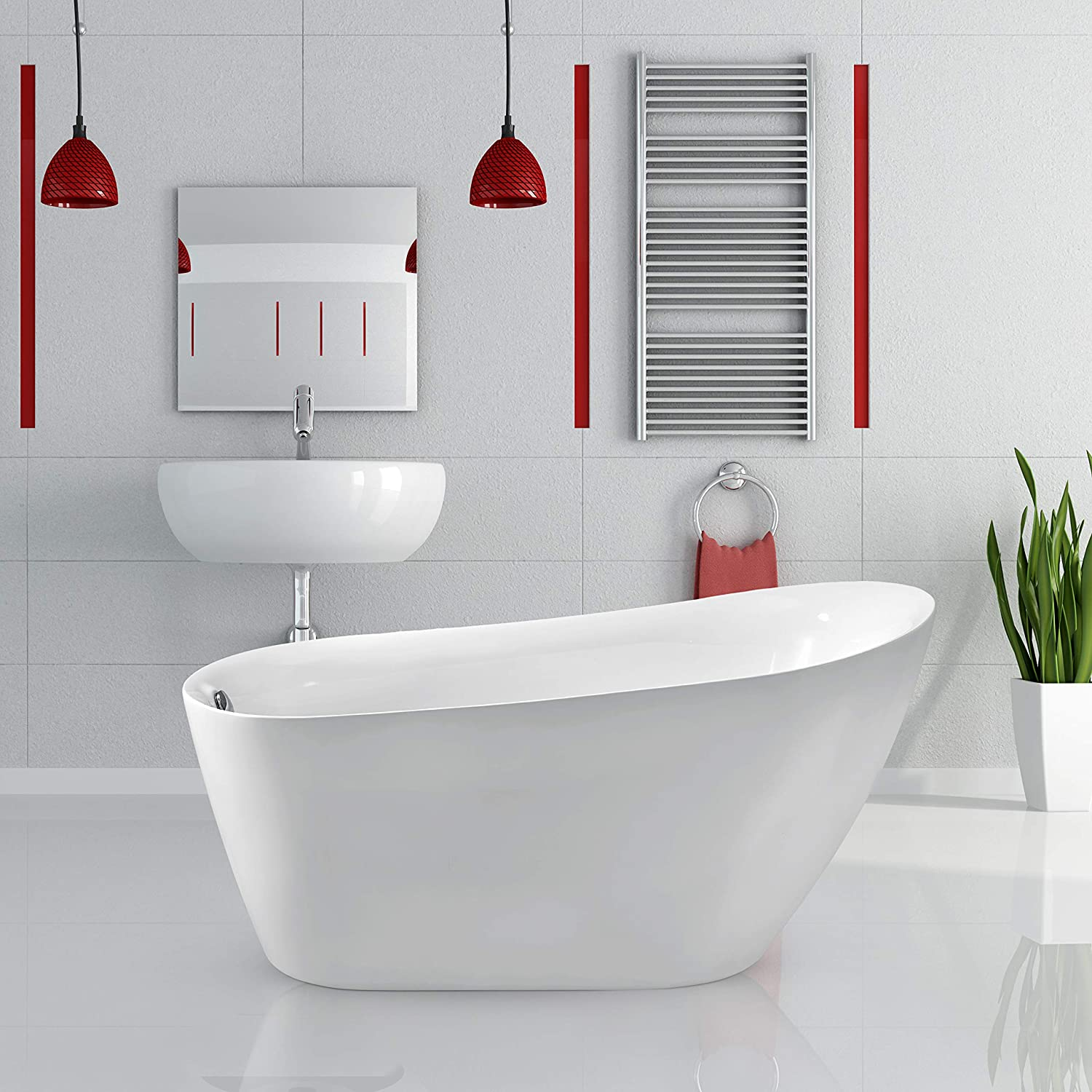 Streamline Freestanding Soaking 59 N 280 59fswh Fm Acrylic Bathtub White Comes With Internal Drain And Chrome Overflow Bamboo Tray Included Amazon Com