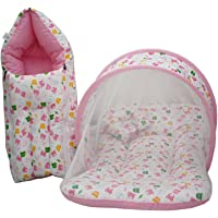 KiddosCare Combo Baby Mattress with Mosquito Net Sleeping Bag for New Born Baby (Print May Vary) (Pink)