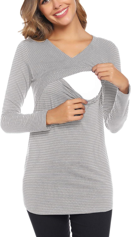 Camiseta de Lactancia a Rayas de Manga Larga Premam/á para Mujer Embarazo T-Shirt Blusa