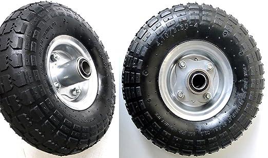 2 opinioni per 2 pneumatici con cerchio in acciaio, 4,10/3,50-4, Ø 260 mm, per carriole e
