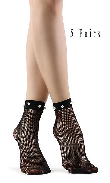 Calcetines negros de malla de rejilla para mujer con perlas: Amazon.es: Ropa y accesorios
