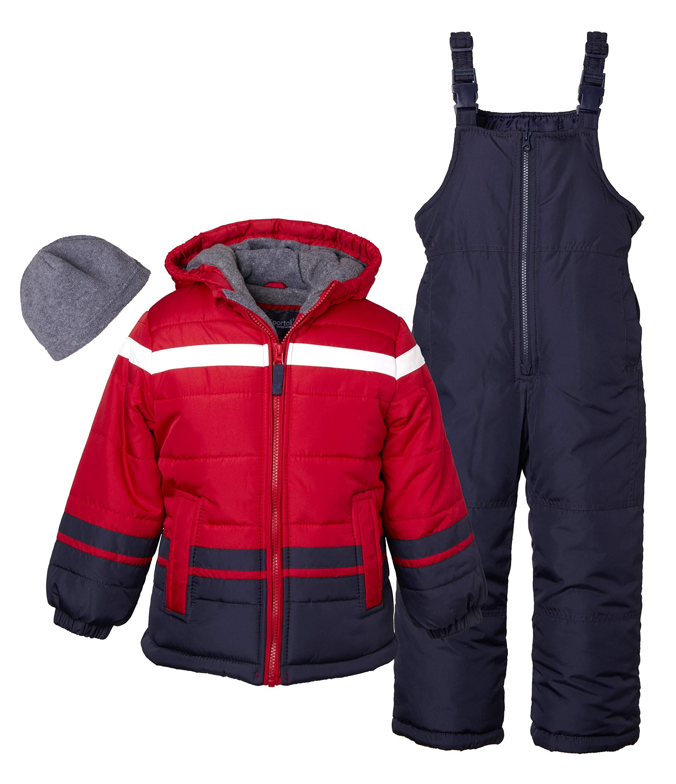 Sportoli Boys' Kids Winter Snowboard Skiing Parka Jacket & Snow Bib Snowsuit Set - Red (Size 7) by Sportoli