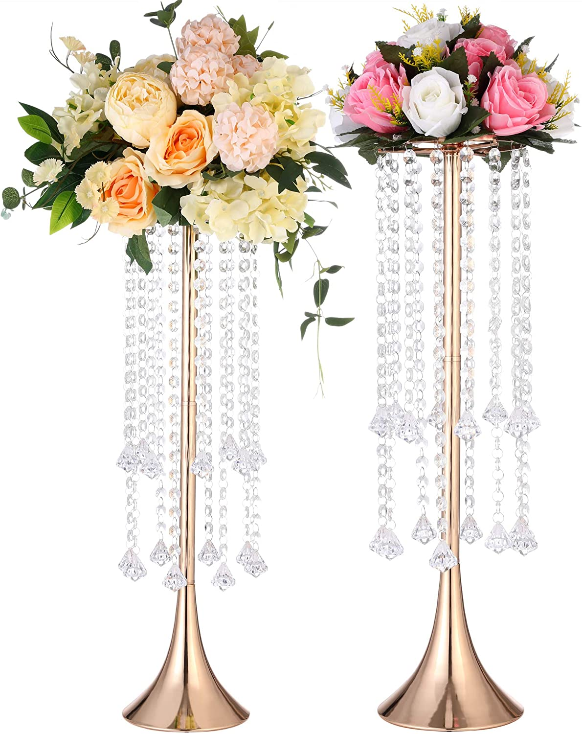 "Tall Wedding Centerpieces For Tables,(22.83""/58cm H) 2pcs Centerpieces for Dining Room with Crystal,Vases For Centerpieces Flower Stand And Wedding Table Decorations Gold Centerpieces.(LYG58)"