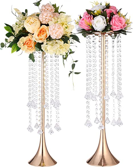 Tall Wedding Centerpieces For Tables 22 83 58cm H 2pcs Centerpieces For Dining Room With Crystal Vases For Centerpieces Flower Stand And Wedding Table Decorations Gold Centerpieces Lyg58 Home Kitchen